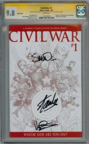 Civil War #1 Retailer Sketch Variant CGC 9.8 Signature Series Signed Stan Lee Steve McNiven Dexter Vines Marvel comic book
